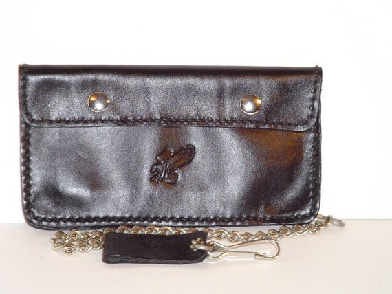 Leather Motorcycle Wallet Eagle Black