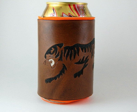 Leather Koozie Tiger Silhouette