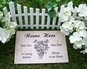 "Free Shipping- Bouquet Garden Memorial Plaque -12x8"" Durable Italian Porcelain Tile"