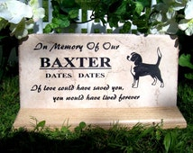 """Free Shipping & Display Base- 12x6 Pet Grave Marker for Beagle """"Baxter"""" design - Personalized Engraving"""
