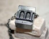 Alphabet Letter Lower Case m Printing Press Necklace