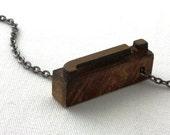 Wooden Lowercase Letter j Letterpress Necklace