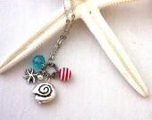 A Day at the Beach Necklace : Seashells, Beach Ball, Aqua, Silver