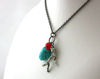 Coral Branch and Turquoise Necklace : Beach Nautical Necklace Turquoise Red