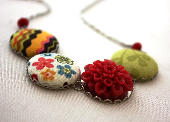 Flowers and Fabric Necklace : Round Colorful Necklace MADE TO ORDER