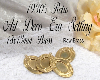 18x13mm - Raw Brass - ArtDeco Setting (4pcs) : sku 12.05.10.17 - (E60)