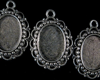18x13mm Antique Silver - Beaded Victorian Lace Setting - 3pcs : sku 10.14.11.1 - N24