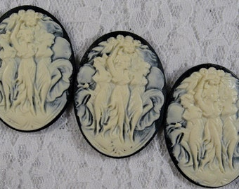 "40x30mm Cameo - Ivory on Black - ""Three Dancers"" - 3 pcs : sku 12.03.11.1 - P15"