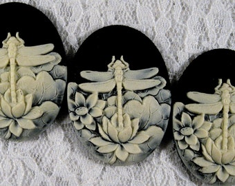 40x30mm Cameo - Ivory/Black - Dragonfly - 3 pcs : sku 05.06.12.1 - Q6
