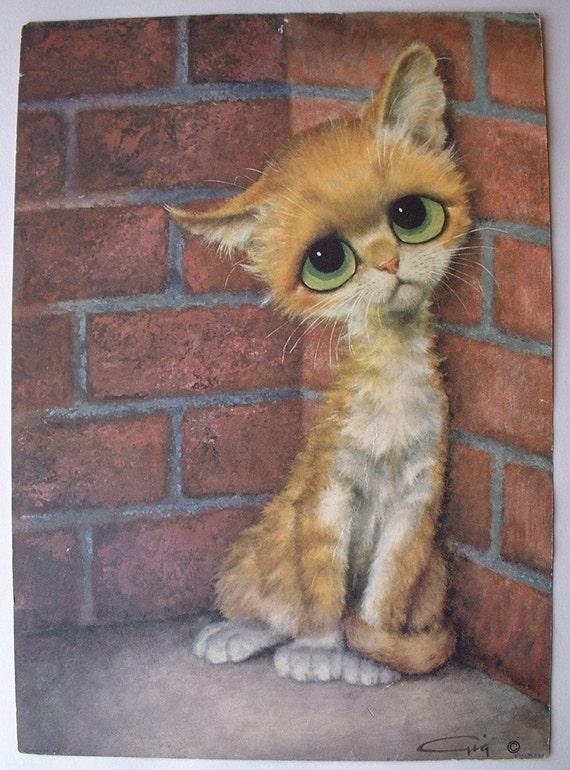 Vintage Gig 1965 Pity Kitty Big Eyed Cat Prints By Shopatgeris