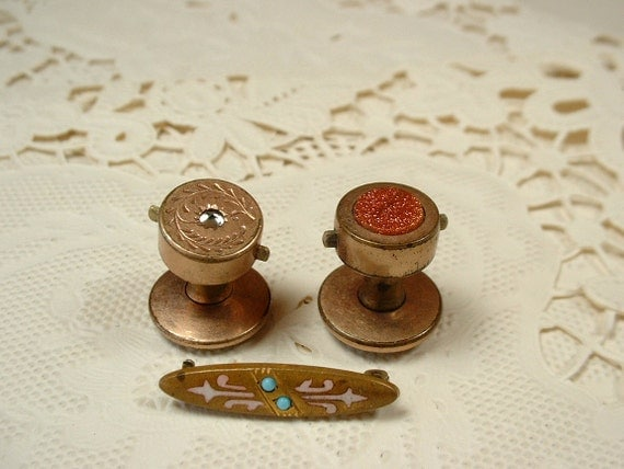Antique Collar Studs or Cuff Buttons and Bar Pin