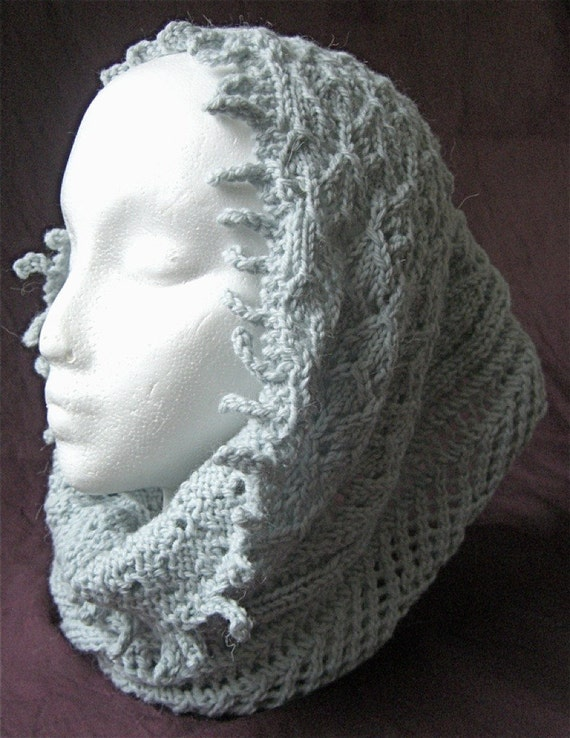 Lace and Fringe Cowl knitting pattern by CarolynDoeDesigns on Etsy