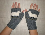 Hand-knitted women grey wrist warmers with hand needlecrafted furry sheep