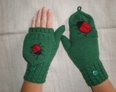 Hand-knitted green color women convertible fingerless gloves/wrist warmers to mittens with ladybugs