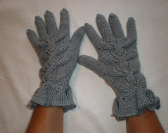 Light grey gloves - Elegant gloves - Fancy gloves - Curly mittens - Fashion winter gloves - Pattern gloves - Winter christmas gift ideas