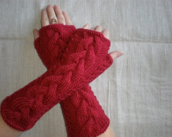 Dark red wrist warmers - Red long mittens - Cable arm warmers - Fall gloves - Fingerless red gloves - Warm office gloves - Winter gift ideas