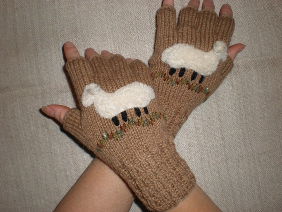 Hand-knitted sand color fingerless gloves with hand needlecrafted sheep