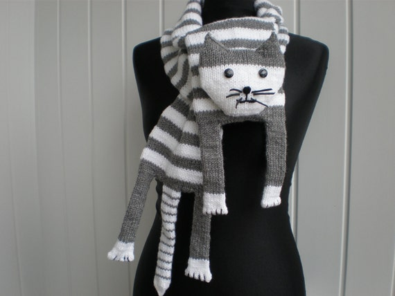 Hand-knitted white grey cat scarf
