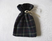 Small Blue Plaid Flannel Gift Bags