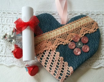 Upcycled Jeans Heart Valentine Message Holder/Ornament