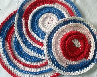 Red, White and Blue Crocheted Round Washcloth/Scrubbies Set of 3