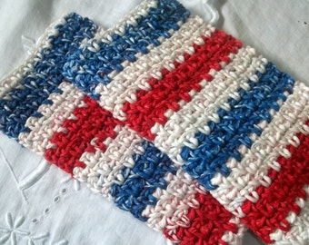 Red, White and Blue Crocheted Rectangular Washcloths Set of 2