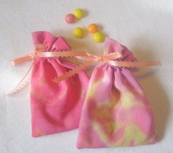 Tie-dye Circle Upcycled Sheet Mini Gift Bags set of 2