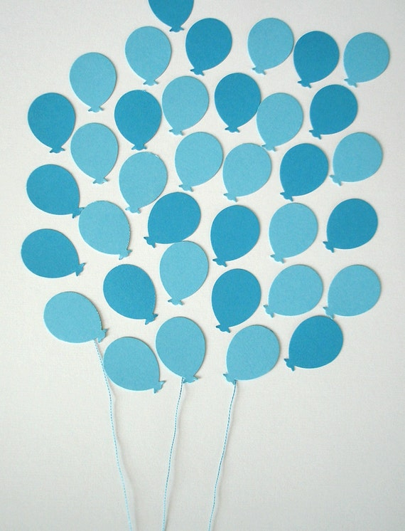 Baby shower - 100 paper balloons confetti - paper baby blue and azure - die cut balloons - balloon embellishments