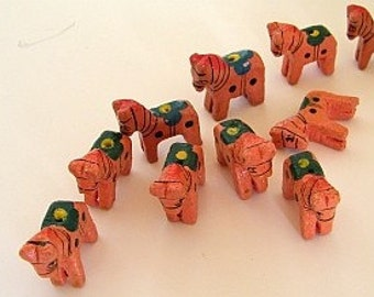 Wooden animal beads - ten (10) horses  - new pricing