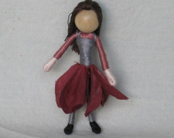 Sale - Waldorf Flower Fairy Doll - Mauve, Gray and Burgandy Dahlia Art Doll, Worry Doll, Faery, elemental