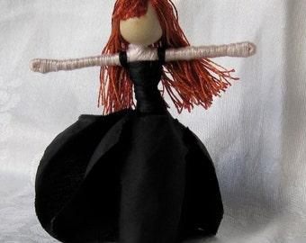 Halloween witch, vampire doll, Black Rose Flower Fairy - custom order