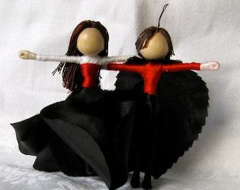 Halloween witch and wizard - Anti Valentine Fairies - Black Rose fairy dolls -  Waldorf Flower Fairy - custom order