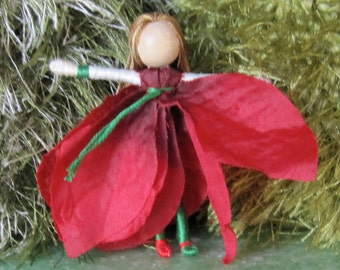Waldorf Flower Fairy - Red, green, Poinsettia, Art Doll, bendy doll, ornament, worry doll