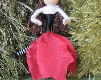 Sale - Waldorf Christmas Fairy - Flower Fairy, Fairy Doll, Art Doll, bendy doll, Christmas ornament, worry doll