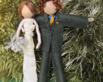 Custom Wedding Cake Topper, Bride and Groom Ornaments, Waldorf, First Christmas, First Valentines