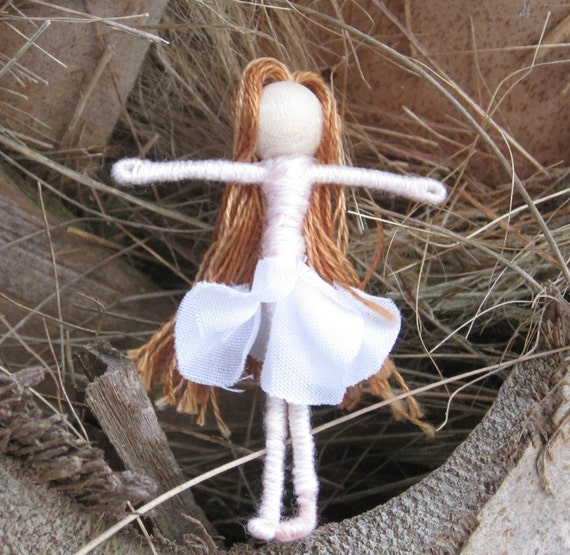 Waldorf Flower Fairy Doll - Pink and White Flower Fairy - 1 1/2 inches, Art Doll, Worry Doll, Faery, elemental