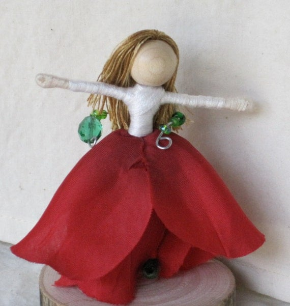 Sale - Flower Fairy Doll - Red and White Rose Art Doll, Waldorf Flower Fairy