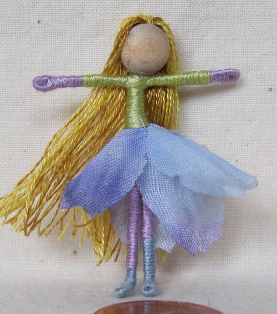 Waldorf Flower Fairy Doll - Blue Mini, Art Doll, ooak, Art Doll, Worry Doll, Faery, elemental
