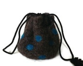 Felted Drawstring Bag Brown with Aqua Dots Small Size