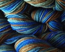 Hand Painted Merino Wool Yarn Worsted Weight in Blue Grass