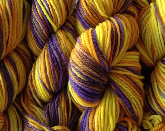 Merino Wool Yarn DK Sport Weight Handpainted Hand Dyed in Valley Sunflower Yellow Purple Brown
