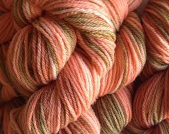 Orange Salmon Brown Wool Yarn Merino Wool Yarn DK Sport Weight Handpainted Hand Dyed in Starfish Bay