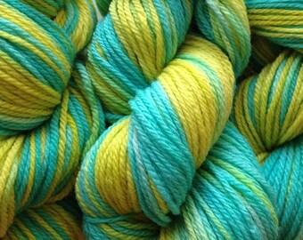 Handpainted Merino Wool  DK Sport Weight Yarn in Lime Ice Aqua Blue