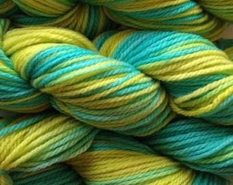 Handpainted Merino Wool Worsted Weight Yarn in Lime Ice Aqua