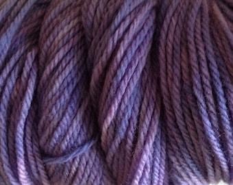 Violet Purple Hand Dyed Merino Wool Worsted Weight Yarn