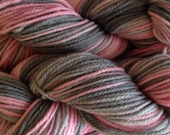 Hand Painted Merino Wool Worsted Weight Knitting Yarn in Girlie Girl (Pink and Gray)