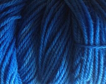 Super Blue Worsted Weight Hand Dyed Merino Wool Yarn