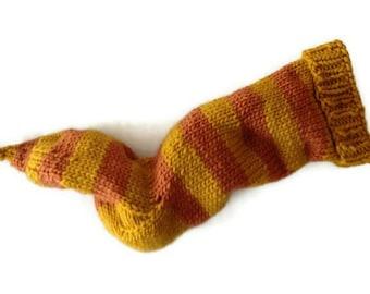 Hand Knit Christmas Stocking Hand Knit Yellow and Orange Striped Santa Sock