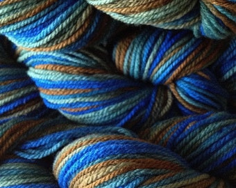 Blue Brown Green Hand Dyed Merino Wool Yarn Worsted Weight in Blue Grass Green