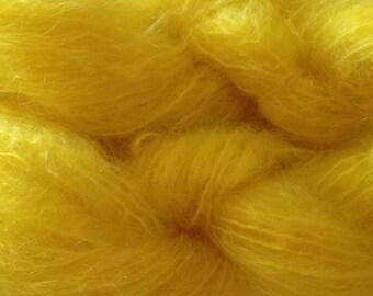 Mohair Yarn in Flower Yellow Fingering Weight